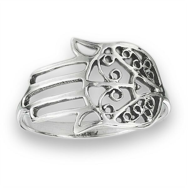 Sterling Silver Khasma Khamsa Hamsa Hand of God Ring Size 5-9