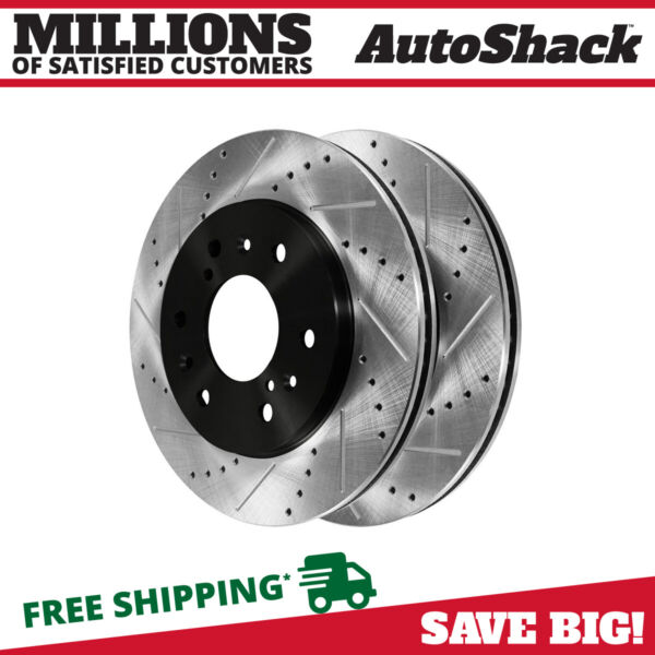 Front Drilled Slotted Disc Brake Rotors Pair 2 for Chevrolet Silverado 1500 6.2L $78.10