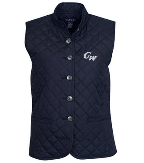 NCAA George Washington Colonials Women's Quilted Button Front Vest (Navy, M)