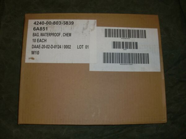 New sealed Box of Ten 10 US Military waterproof gas mask dry bags