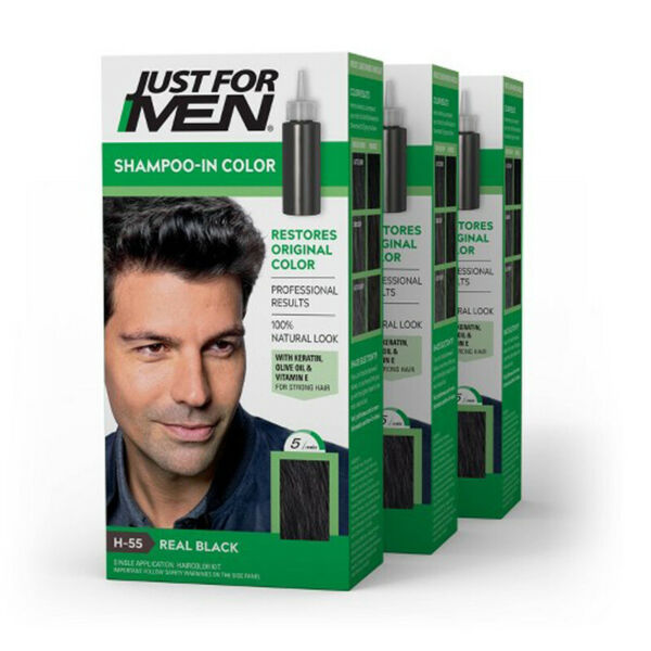 JUST FOR MEN Shampoo in Color Hair Color Real Black H 55 kit 3 Packs $25.99