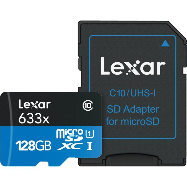 Lexar 128GB micro SD SDXC 633x Class 10 UHS-I U1 Memory Card with SD Adapter