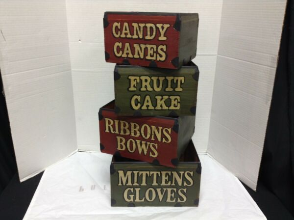 4 Vintage Rustic Decorative Christmas Wooden Storage Boxes Cubby Candy Cane