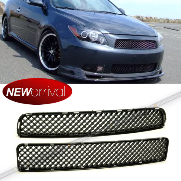 For Scion tC 05 10 Upper Lower Badgeless ABS Black JDM VIP Mesh Grill Grille