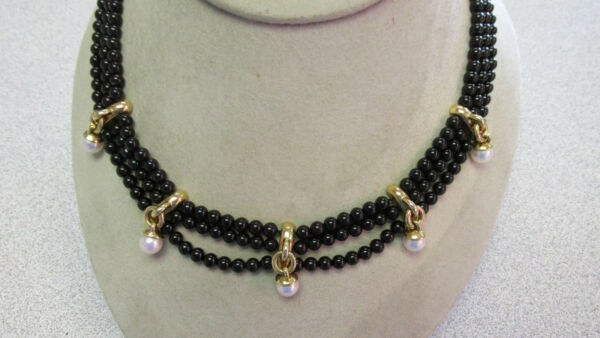 Tiffany & Company 18k Gold  Black Onyx & Pearl Necklace 16 inch  Make Offer
