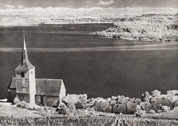 1934 Vintage 11x14 SWITZERLAND Lake Biel Bernese Alps Church Landscape Photo Art