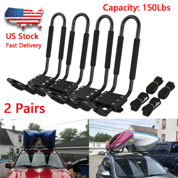 2 Pairs Kayak Carrier Boat Ski Surf Snowboard Roof Mount Car Cross J Bar Rack $54.99