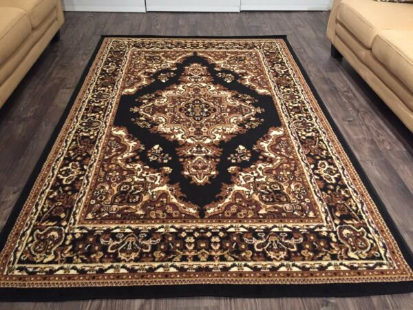 Beautiful Traditional Persian Style Area Rugs 8x11 Black Rug Carpet