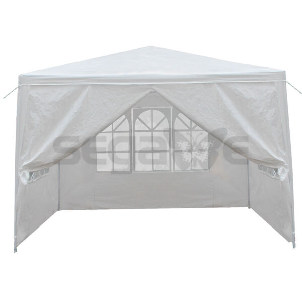 10#x27; x 10#x27; Outdoor Canopy Party Wedding Tent Gazebo Pavilion w 4 Side Walls White