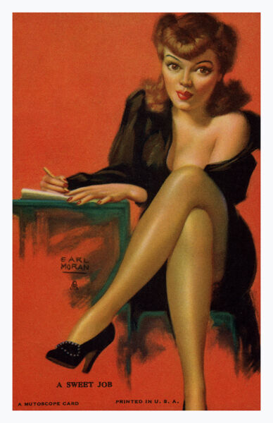 Pin Up Girl Poster 11x17 Earl Moran mutoscope redhead Sexy Secretary High Heels