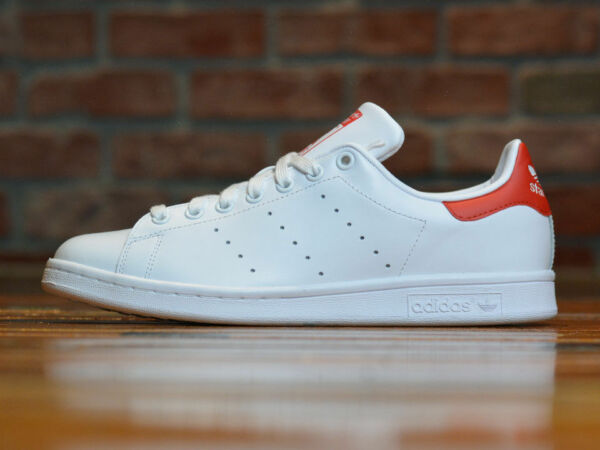 Adidas ORIGINALS STAN SMITH Men's Shoes M20326 White Red Leather Trainers NIB