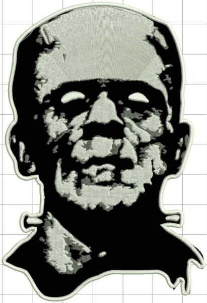 Frankenstein monster LARGE 7quot;x10quot; sew on biker embroidered vest patch $34.00