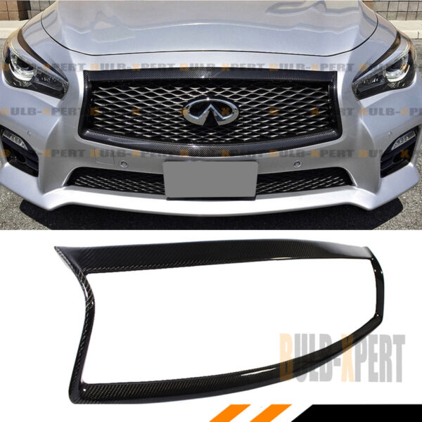 FOR:2014-2017 INFINITI Q50 S CARBON FIBER FRONT GRILL OUTLINE TRIM COVER OVERLAY