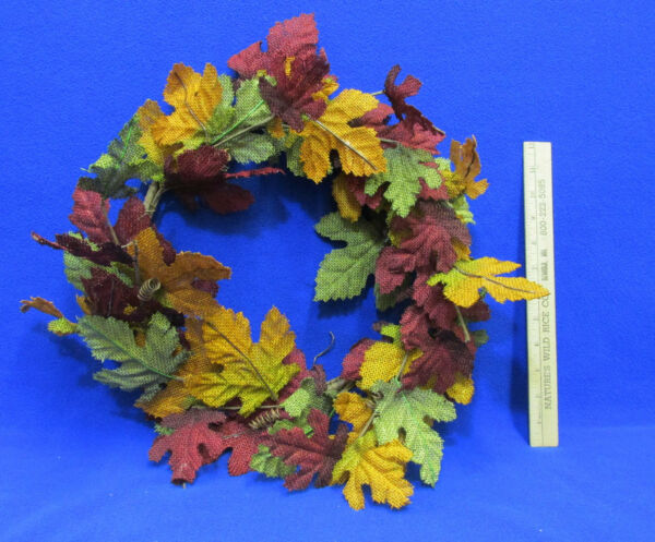 Autumn Wreath Fall Colored Maple Leaf Leaves Floral Decor Thanksgiving Burlap