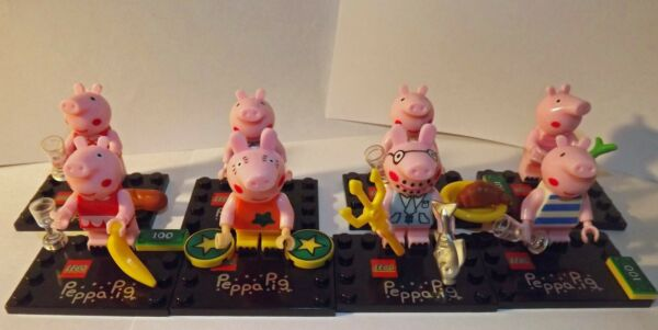 Peppa Pig Minifigure set of 8 Building Block Figure Custom toy lot  family
