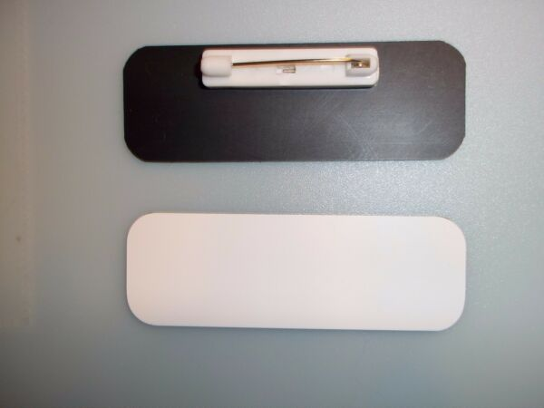 20 white black blank name badges tags 1x3quot; with pins and rounded corners.