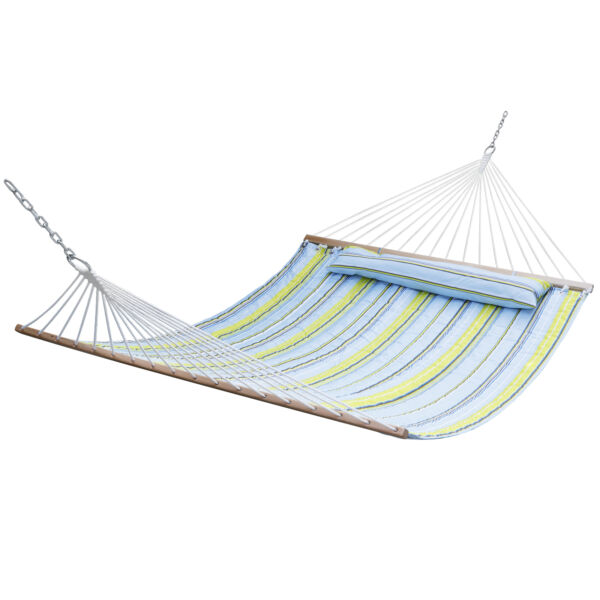 Double Hammock Quilted Fabric with Detachable Pillow Spreader Bar Heavy Duty $47.99