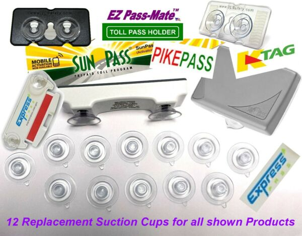 Replacement Suction Cups for SunPass PikePass K Tag amp; Express Pass. 12 pack $8.97