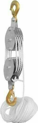 4000LB 2 Ton 65FT Poly Rope Hoist Pulley Block And Tackle Rope 7:1 Lifting