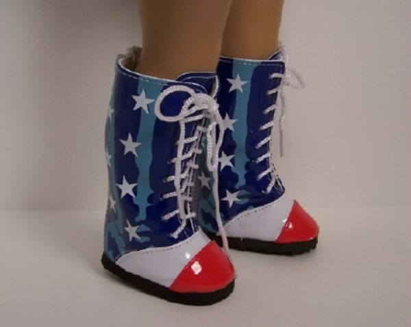 RED WHITE BLUE Star Flag Knee Boots Doll Shoes For 18quot; American Girl Debs
