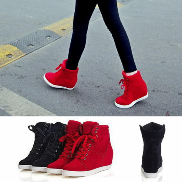 Fashion Women's High Top Lace Up Athletic Sneakers Shoes Lady Wedge Ankle Boots