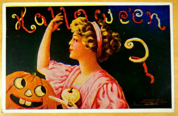 Antique HALLOWEEN Artist Signed Postcard BERNHARDT WALL JACK-O-LANTERN 1908