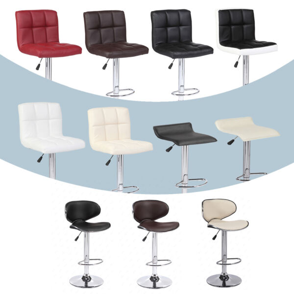 Adjustable Set of 2 Bar Stools w Back Leather Counter Height Swivel Pub Chairs
