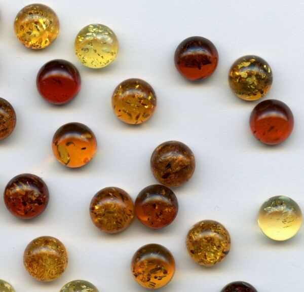 AMBER Natural Baltic Amber ONE 8mm Round Cabochon Sopot Poland