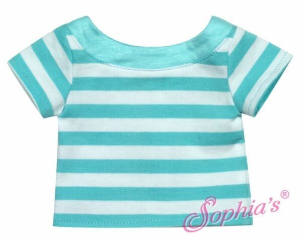 Aqua Striped Knit Top for American Girl Dolls & Other 18