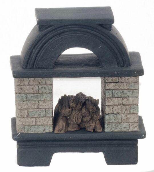 Dollhouse Miniature Black Painted Traditional Fireplace in Wood