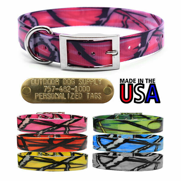 Hunting Dog Pattern Name Collar 1quot; Strap with D Ring amp; Brass Tag Name ID Plate $10.95
