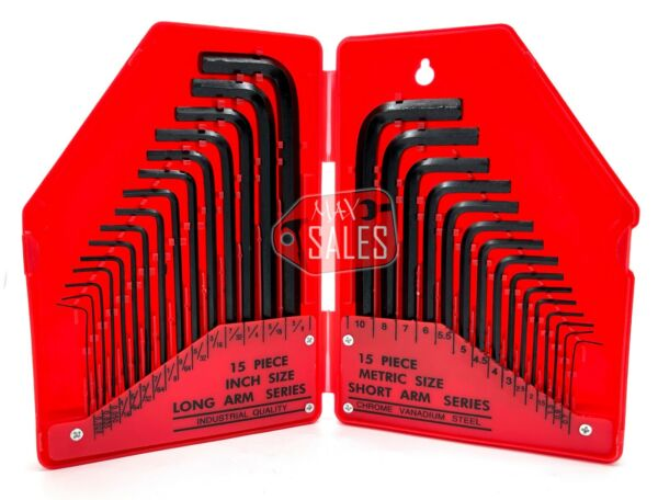 Allen Wrench Hex Key Set 30PC SAE METRIC Long Short Arm with Case FREE SHIP NEW