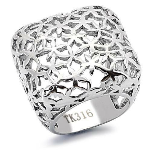 Women#x27;s Weave Flower Stainless Steel Weave Wide Square Band Fashion Ring $9.99