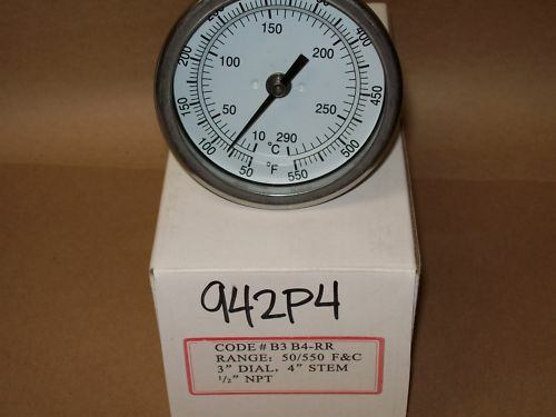 Thermometer 3quot; Face 4quot; Stem 50 550° F 1 2quot; Straight Back Barbeque Smoker lt;942P4