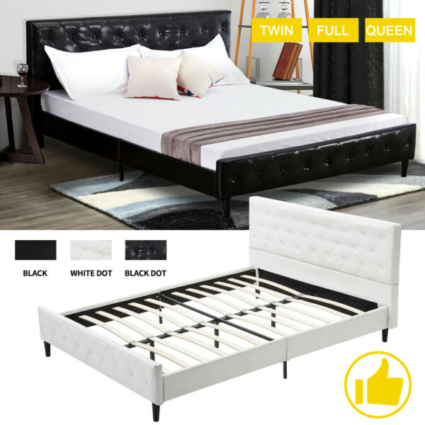 Twin Full Queen Size Bed Frame Mattress Platform Leather Upholstered Headboard