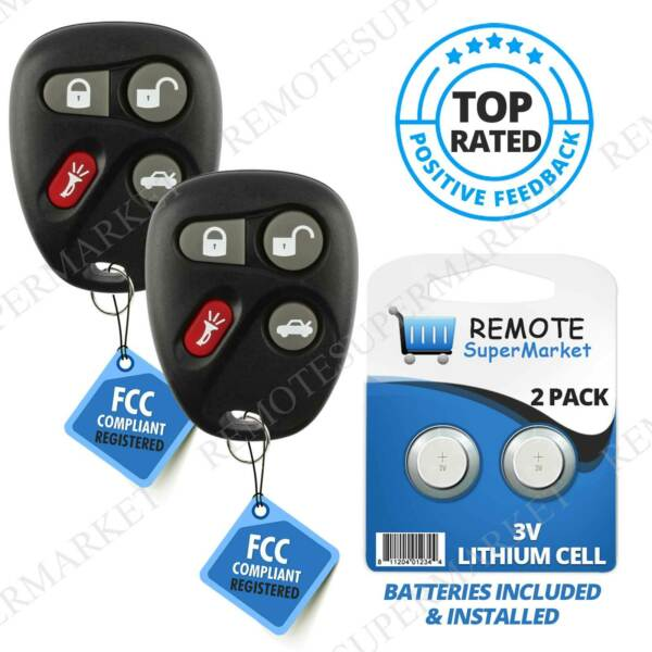 Replacement for Cadillac 03-07 CTS 04-06 SRX 01-02 Alero Remote Car Key Fob Pair