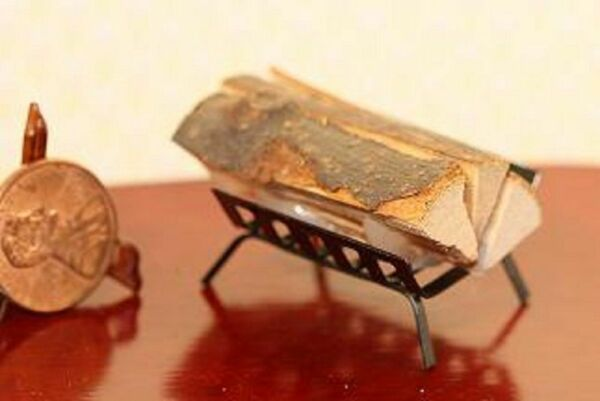 Dollhouse Miniature Filled Fireplace Log Holder in Black Metal