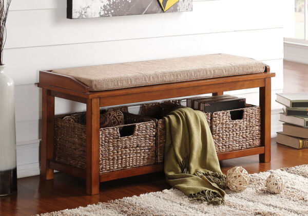 Letha Hallway Entryway Storage Bench Baskets Microfiber Seat Cushion Walnut Wood $199.99