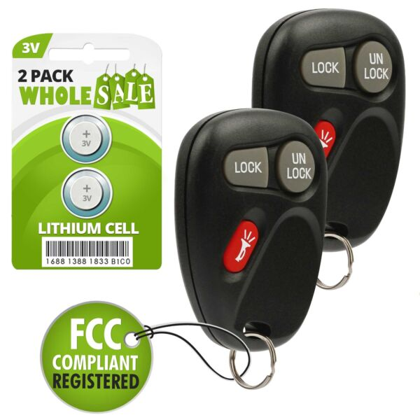 2 Replacement For 2001 2002 Chevrolet Silverado Key Fob Remote