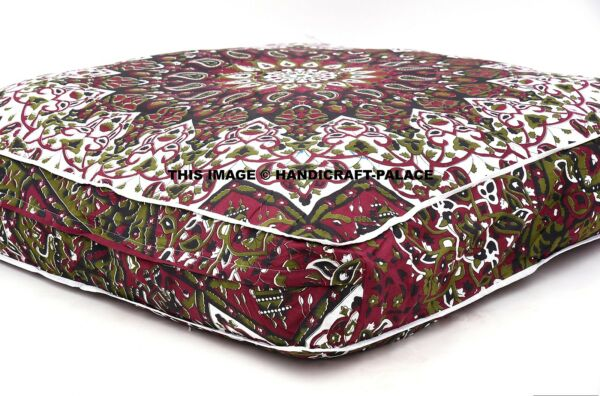Psychedelic star Mandala Ottoman Floor Pouf Cover Indian Tapestry Throw Dog Bed
