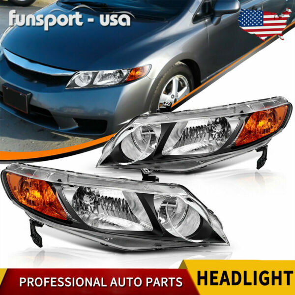 for 2006 2011 Honda Civic Sedan 4Dr Black Headlights Headlamps Assembly Pair Set