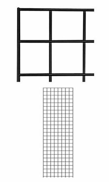 Set of 4 Gridwall Panels 2' x 6' Grid Wall Display Black Panel Steel Powder Coat