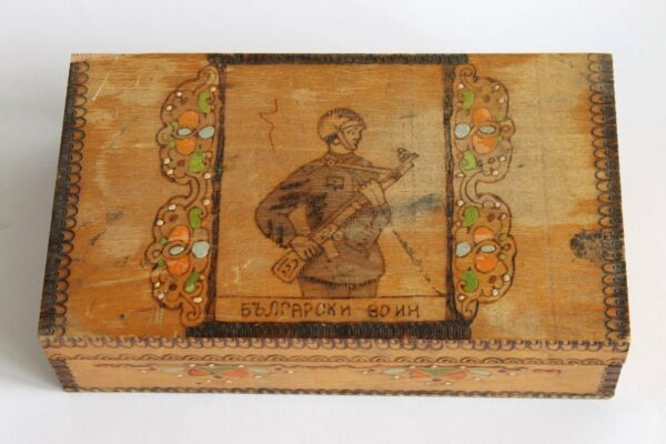 Vintage Bulgarian Soldier Handmade Pyrography Wooden Box 1950's