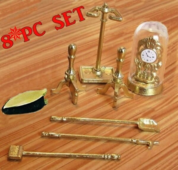 MINIATURE FIREPLACE TOOLS - MANTLE CLOCK - BELLOWS & ANDIRONS 4 DOLLHOUSE 1:12