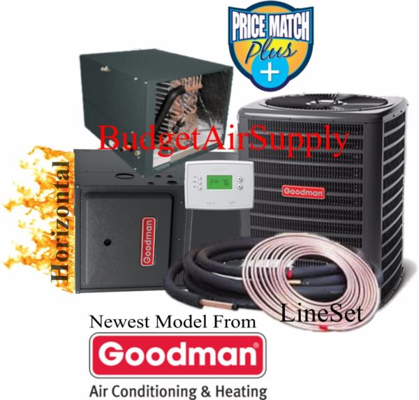 5 Ton Goodman 14 seer 96% 120K BTU Gas Furnace HORIZONTAL GMSS961205D+50ft Line