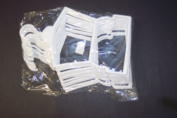 12 White Plastic Outfit Hangers(1 Dozen) made for 18