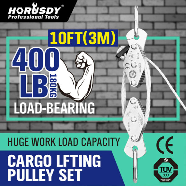 180 KG Poly Rope Hoist Pulley Wheel Block and Tackle 400lb Puller Lift Tools New