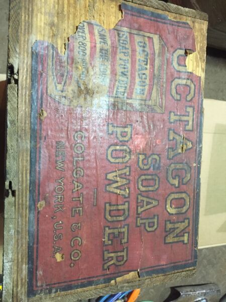 Octagon Soap Powder Wooden Crate Box Sign Advertising Decor Vintage Antique