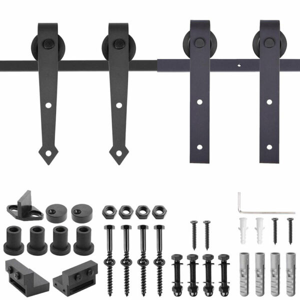 6FT 6.6FT Sliding Barn Wood Door Hardware No-Joint Carbon Steel Track Closet Kit