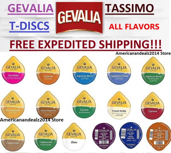 GEVALIA TASSIMO T-DISCS -  PICK ANY FLAVOR & QUANTITY - FREE EXPEDITED SHIPPING